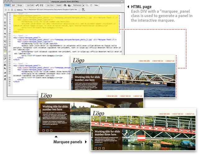 图2. 基于HTML内容动态生成面板和导航.